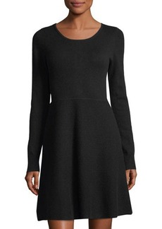 Neiman Marcus Cashmere Long-Sleeve Fit & Flare Dress