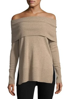 Neiman Marcus Cashmere Off-Shoulder Tunic Sweater