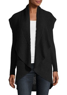 Neiman Marcus Cashmere Ribbed Cocoon Cardigan Sweater