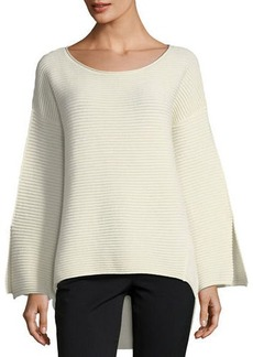 Neiman Marcus Cashmere Round-Neck Bell-Sleeve Pullover Sweater
