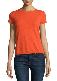 Neiman Marcus Cashmere Short-Sleeve Pullover Top