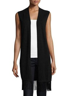 Neiman Marcus Cashmere Sleeveless Vest with Fringe Trim