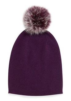 Neiman Marcus Cashmere Slouchy Hat w/Fur Pom Pom