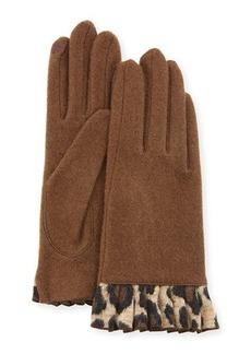 Neiman Marcus Cashmere Smart Gloves with Cheetah-Print Ruffles