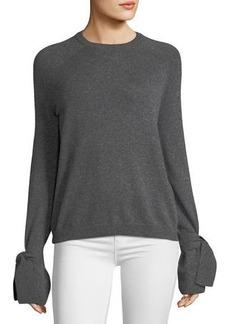Neiman Marcus Cashmere Tie-Sleeve Sweater