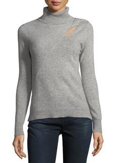 Neiman Marcus Cashmere Turtleneck Cutout Sweater