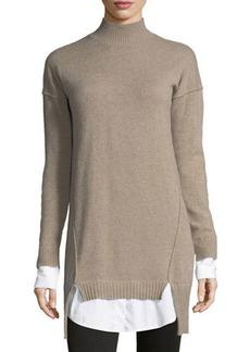 Neiman Marcus Cashmere Twofer Sweaterdress