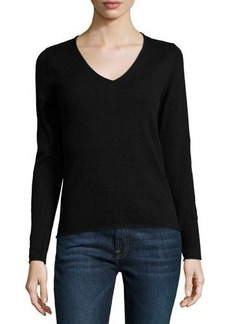 Neiman Marcus Cashmere V-Neck Long-Sleeve Pullover Sweater