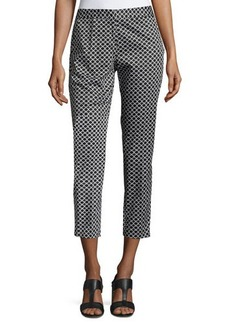 Neiman Marcus Chain-Link Print Skinny Pants