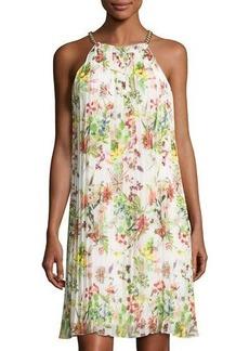 Neiman Marcus Chain-Neck Sleeveless Pleated Dress
