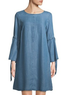 Neiman Marcus Chambray Bell-Sleeve Dress