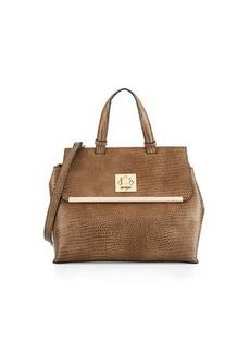 Neiman Marcus Charlotte Snake-Print Faux-Leather Satchel Bag