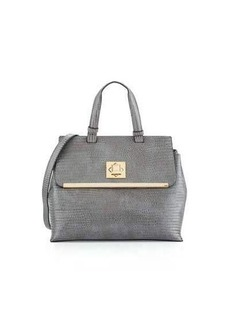 Neiman Marcus Charlotte Snake-Print Faux-Leather Satchel Bag