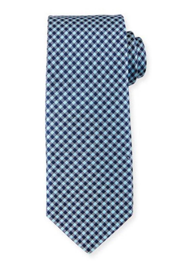 Neiman Marcus Check-Pattern Silk Tie