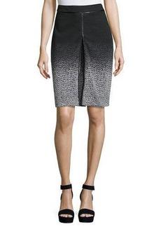 Neiman Marcus Chevron-Pattern A-Line Skirt