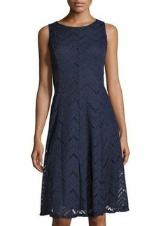 Neiman Marcus Chevron Seam Sleeveless Dress