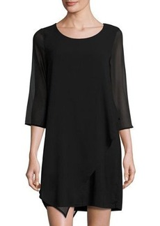 Neiman Marcus Chiffon-Sleeve Shift Dress