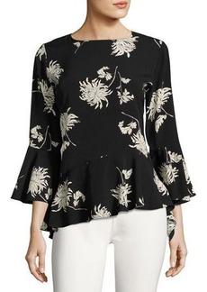 Neiman Marcus Chrysanthemum Floral-Print Top