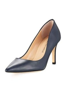 Neiman Marcus Cissy Leather Pointed-Toe Pump