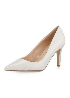 Neiman Marcus Cissy Snakeskin Pointed-Toe Pump