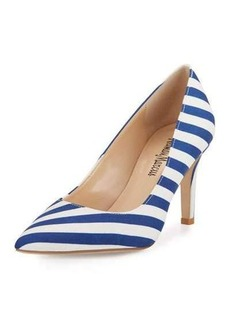 Neiman Marcus Cissy Striped Leather Point-Toe Pump