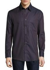 Neiman Marcus Classic-Fit Non-Iron Herringbone-Striped Sport Shirt