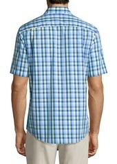 Neiman Marcus Classic-Fit Non-Iron Plaid Short-Sleeve Sport Shirt