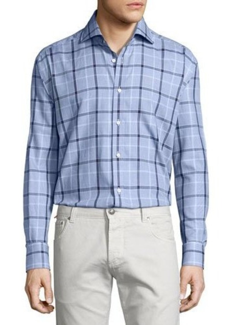 Neiman Marcus Classic-Fit Regular-Finish Plaid-Print Sport Shirt