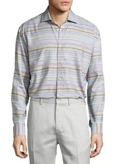 Neiman Marcus Classic-Fit Regular-Finish Striped Sport Shirt