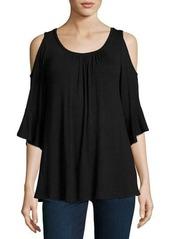 Neiman Marcus Cold-Shoulder 3/4-Sleeve Top