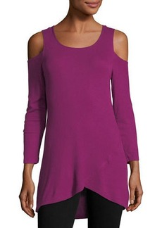 Neiman Marcus Cold-Shoulder Asymmetric-Hem Tee