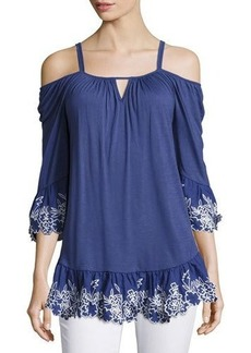 Neiman Marcus Cold-Shoulder Embroidered Peasant Top