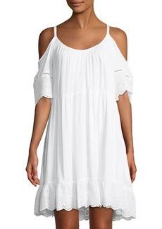 Neiman Marcus Cold-Shoulder Eyelet-Trim Mini Dress
