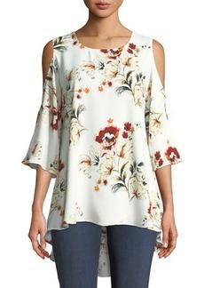 Neiman Marcus Cold-Shoulder Floral-Print Blouse