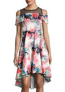 Neiman Marcus Cold-Shoulder Floral-Print Dress