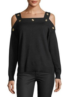 Neiman Marcus Cold-Shoulder Grommet Sweater