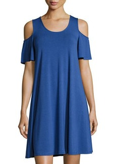 Neiman Marcus Cold-Shoulder Jersey Swing Dress