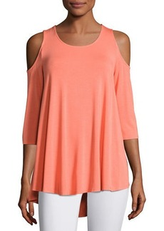 Neiman Marcus Cold-Shoulder Jersey Swing Top