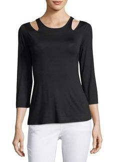 Neiman Marcus Cold-Shoulder Jersey Top