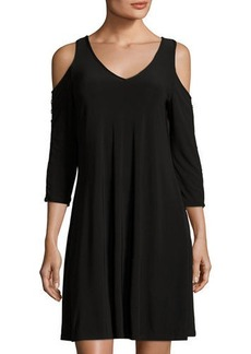 Neiman Marcus Cold-Shoulder Knit Shift Dress