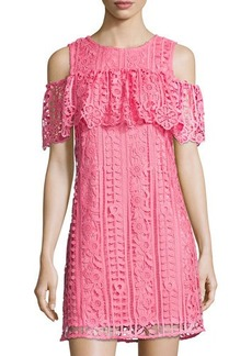 Neiman Marcus Cold-Shoulder Lace Shift Dress