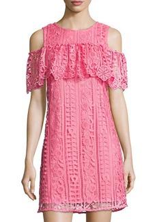Neiman Marcus Cold-Shoulder Lace Shift Dress