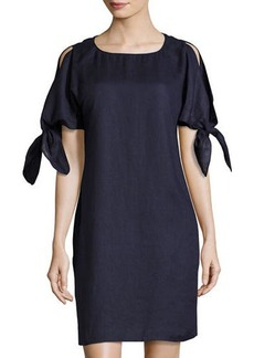 Neiman Marcus Cold-Shoulder Linen Shift Dress