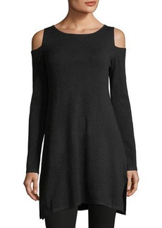 Neiman Marcus Cold-Shoulder Long Tunic Sweater