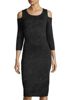 Neiman Marcus Cold-Shoulder Metallic Knit Sheath Dress