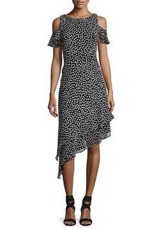 Neiman Marcus Cold-Shoulder Polka-Dot Asymmetric-Hem Dress
