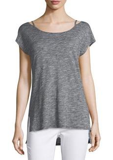 Neiman Marcus Cold-Shoulder Striped Top