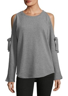 Neiman Marcus Cold-Shoulder Sweatshirt with Bows