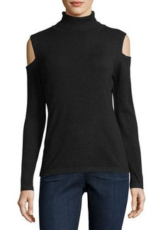 Neiman Marcus Cold-Shoulder Turtleneck Sweater
