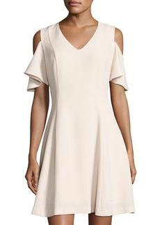 Neiman Marcus Cold-Shoulder V-Neck Crepe Dress